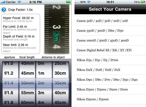 iDoF Calc, una calculadora de profundidad de campo para iPhone