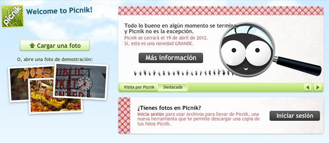 Picnik, la web de retoque digital, cerrará próximamente