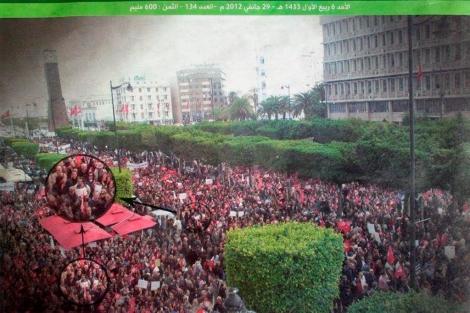 Manifestantes duplicados en Túnez
