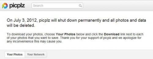 La aplicación picplz cerrará el próximo mes