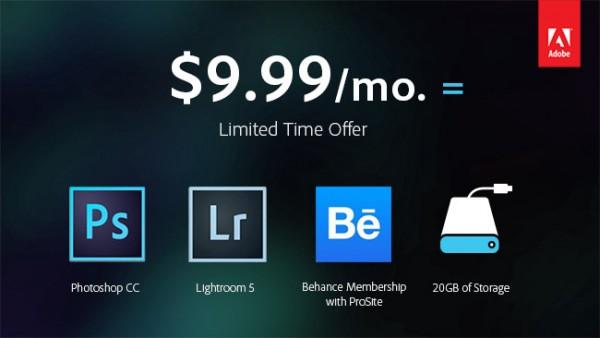Oferta especial por parte de Adobe para Photoshop y Lightroom